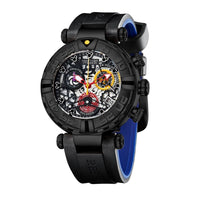 Reef Tiger RGA3059-S Men Sport Chronograp Fashion 10Bar Waterproof Skelet Quartz Wrist Watch With Rubber Watchband - Black