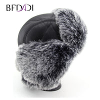 BFDADI 2019 Russian faux leather bomber hat men winter hats with earmuffs trapper earflap cap man hats Free Shipping