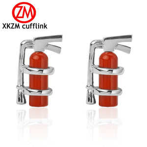 Luxury Men Red fire extinguisher Cufflinks High Quality Lawyer Groom Wedding Cufflinks For Mens Shirt Cuff Links French Jewelry