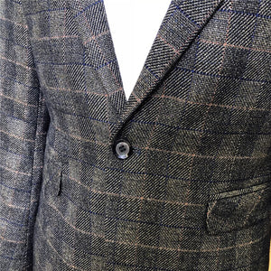 Autumn Mens Long Sleeve Blazers Business Casual Male Lattice Blazer Jacket Slim Fit Grid Suit Coats Male S-3XL