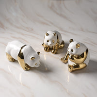 Golden Ceramics Panda Crafts Decoration Creative Parlor Desktop TV cabinet Home Bedroom Decoration Animal statue Souvenir Gifts