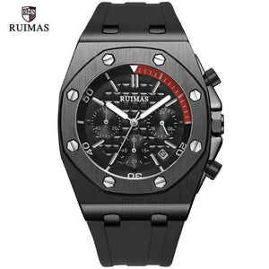 RUIMAS Chronograph Watches Men Luxury 24 Hours Quartz Watch Top Brand Clock Relogios Masculino Army Sport Wristwatch R540 Black