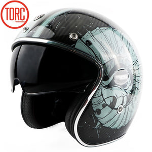 New TORC motorcycle retro car carbon fiber leather lining large built-in lens with eye groove retro helmet ECE certification
