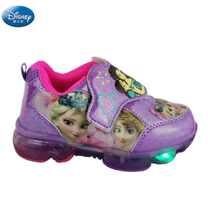 frozen girls Cartoon purple Casual Shoes  with light  elsa and Anna Snow Princess  sneakers Europe size 28-33