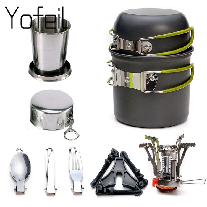 1Set  Camping Pot Cookware Sets Mini Gas Stove With Stand Fork Spoon Knife  Utensils