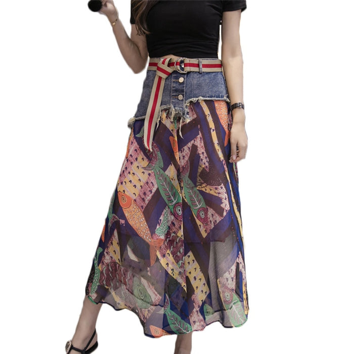 Denim Chiffon Print Skirt Summer Casual Boho Skirts Womens Vintage Beach Skirt saia midi