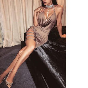 2019 New Summer Women Sexy Chocker Cocktail Club Dresses Bandage Bodycon Cut Out Sleeveless V neck Party Short Mini Dress