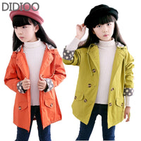 Children jackets for girls coat  fashion autumn Double-breasted big children windbreakers casaco outfits kids clothes size 2-14