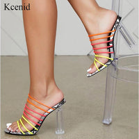 Kcenid 2019 New sexy multi snake print sandals women open toed mixed color transparent block heel sandals crystal slippers pumps