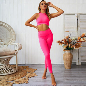 Back Zipper Design Sport Suit Women Fitness Tracksuit Breathable Running Sportswear Solid