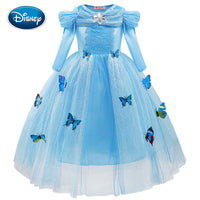 Disney Girls Cartoon Dress Fashion Cinderella Princess Dress Cute Lace Screen Gauze Butterfly decoration Dress