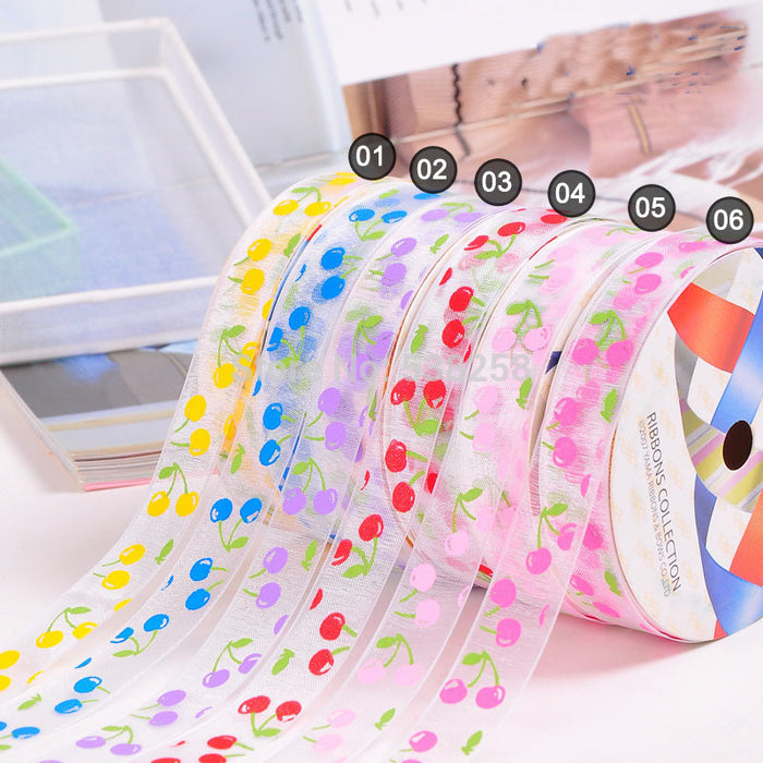 single face printed flower 6 color organza ribbon  for christmas/wedding decoration  cloth accessory