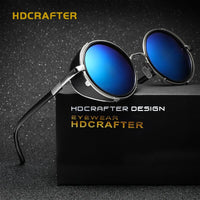 HDCRAFTER Brand Mirror Lens Steampunk Sunglasses New Vintage Retro Sun Glasses Men Round Steampunk Cyber Goggles For Men/Women