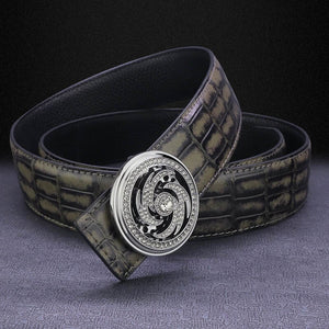New fashion vortex rotate round buckle belt men luxury famous brand genuine leather designer