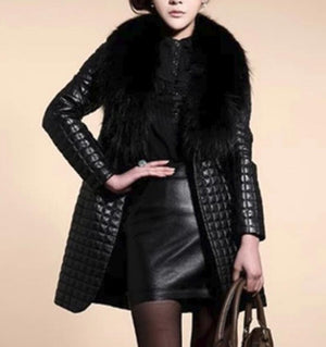 2020 women's faux fur coats long overcoat female imitation fox fur big fur collar pu fur one warm leather slim jackets outerwear