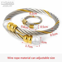 FYSARA Cable Wire Jewelry Set Fashion Stainless Steel Bracelet Bangle Women Shell Pearl Gold Ring and Bangle Jewelry Set 5 Color