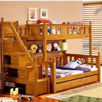 High quality solid wood with the drawer stair case children bunk bed