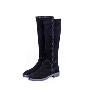 Krazing Pot genuine leather stretch long boots med heel sewing gladiator women keep warm preppy style over-the-knee boots L16
