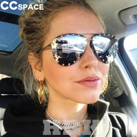 46423 Luxury Oversized Pilot Sunglasses Women Big Frame Sun Glasses Eyewear UV400 Retro Brand Designer