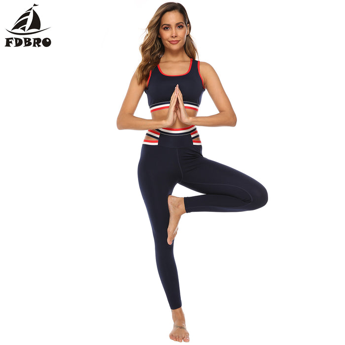 FDBRO Sport Suit Women Gym Yoga Set 2 Pieces Women Sportwear Workout Set Fitness Yoga