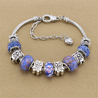Adjustable length High quality DIY Owl Purple Beads Luxury Charm Pandora Bracelets Bangles For Women Jewelry BT0029