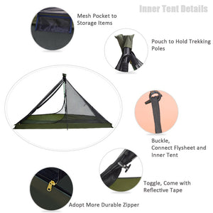 GeerTop Ultralight Camping Tent 1 Person 3 Season Portable Compact Backpacking No Trekking Poles Tents Outdoor Hiking Road Trip