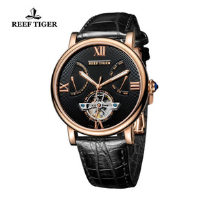 Reef Tiger/RT Luxury Tourbillon Watch Men Rose Gold Automatic Mechanical Watch Date Day Luminous Designer Watches 2019 RGA191