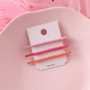 HZ 2019 Cute Macaron Korea Beads Colorful Metal Hair Grip Hair clips