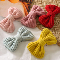 HZ 2019 Lovely Knitted Fabric Bow Hair Clip BB Clip Barrettes Candy Colors