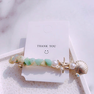 HZ 2019 New Fashion Imitation Pearl Barrettes Starfish Hair Grip Shell Hairpin