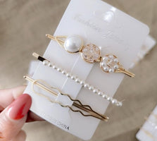 HZ 2019 New Metal Imitation Pearls Hair Clip Crystal Barrette