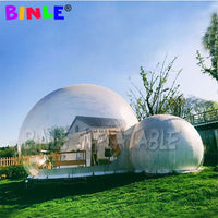 Outdoor luxury camping site inflatable bubble tent with 2 tunnels clear inflatable bubble lodge tent hotel room