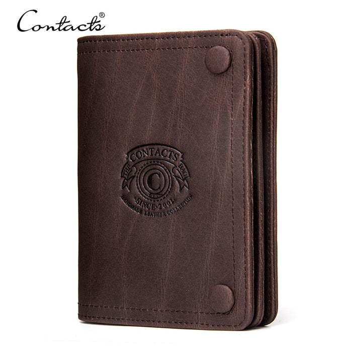 CONTACT'S Men Wallets Brand Design Crazy Horse Genuine Leather Male Short Wallet