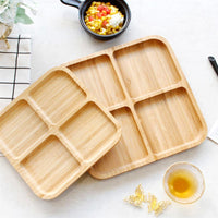4 Grids Bamboo Snack Plate Rectangle Snack Plate Fruit Bread Tray Dishes Organizer Rack Refreshment Plate Kitchen Party Supplies