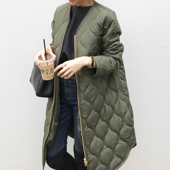 Autumn Cotton Padded Jacket Office Ladies Korean Warm Solid Green Zipper Retro Causal Long