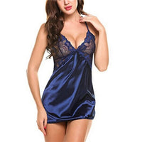 Women Sexy Lingerie Lace Sleepwear Nightdress Straps Deep V Neck Hot Robe Dress Nightie Night