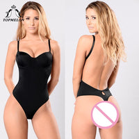 TOPMELON Bodysuit Underwear Women Body Shaper Slimming Shapewear Sexy Lingerie Backless Cut Out Push Up Thong Strap Shapers