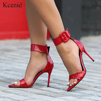 Kcenid Fashion women sandals red patent leather high heel sandals women open toe ankle buckle strap sexy ladies party shoes 2020