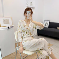 Women's Cotton Cardigan Ladies Home Clothes Half Sleeve Tops with Long Pants Pajamas Suit Printing Woman Clothes Pajama Set