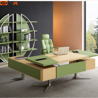 Modern Design Black Brown Orange Leather Wood Furniture Custom Office Executive Desktop Table Study Office Computer Table Desk