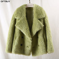 OFTBUY 2020 Winter Jacket Women Casual 100% Real Fur Coat Thick Warm Sheep Shearing Outwear Female Fashion Streetwear Korea New