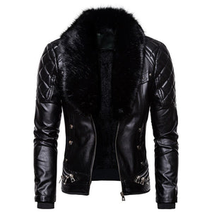 Winter men casual leather jacket mens keep warm punk style coats Thick section Detachable