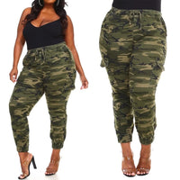 Camouflage Printed Ladies Cargo Pants Plus Size Fashion Women Trousers Drawstring Large Size Female Long Pants D30