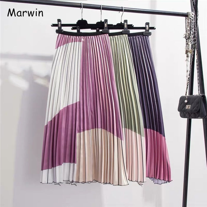 Marwin 2019 New-Coming Summer Contrast Color Splice Pleated Skirt