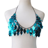 Simple Rhombic Sequins Lady Camis Fashion Hollow Out Metal Chain Crop Tops Summer