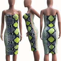 Animal Snake Print Sexy Bodycon Summer Dress Women Sleeveless Strapless Bandage Party Dress Ladies Club Dress Beach Sundresses