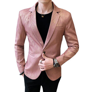 2020 Spring Male Business Prom Wedding Costume Homme High Quality Blazer Jacket Men Fashion Jacquard Casual Shining Blazer Suit