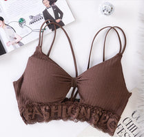 2020 Free Size Deep V Lace Bras Padded Bralette For Women Fashion Wireless Bra 7 Colors Summer