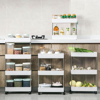 2/3/4 Tiers Removable Gap Storage Shelf Kitchen Trolley Living Room Bathroom Multi-layer Storage Rack With Wheels