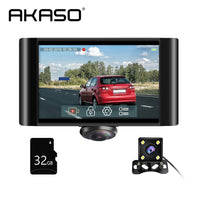 AKASO 360° Car DVR Dual Lens Dash Camera Front and Rear Dashboard Video Recorder with Touch Screen G-Sensor Parking Monitor Cam